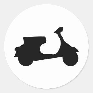 black racing scooter round sticker