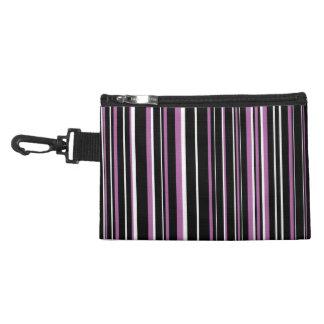 Black, Radiant Orchid Purple, White Barcode Stripe Accessories Bag