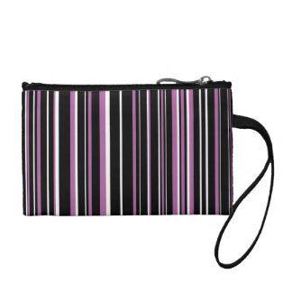 Black, Radiant Orchid Purple, White Barcode Stripe Coin Wallets