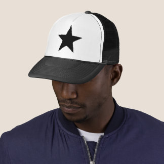 Black ragged edged star trucker hat