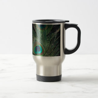 Black Rainbow Peacock Travel Mug