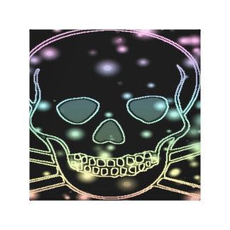 black rainbow skull gallery wrap canvas