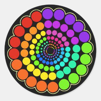 Black - Rainbow Spectrum Mandala Classic Round Sticker