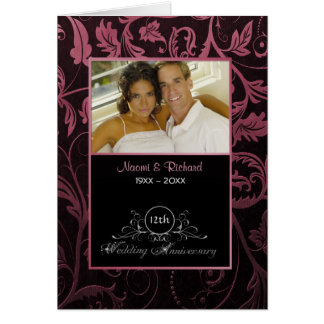 Black & Raspberry Damask 12th Wedding Anniversary Card