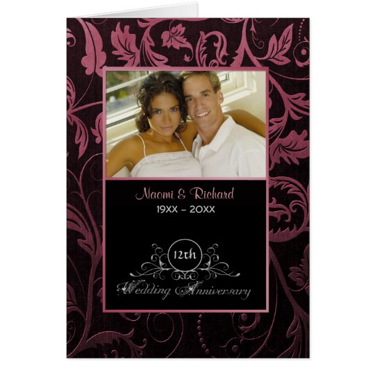 Black & Raspberry Damask 12th Wedding Anniversary Card