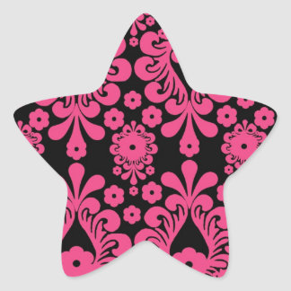 black raspberry red pink mod damask stickers