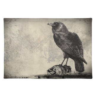 Black Raven Bird Sitting Upon Shrunken Skulls Placemat