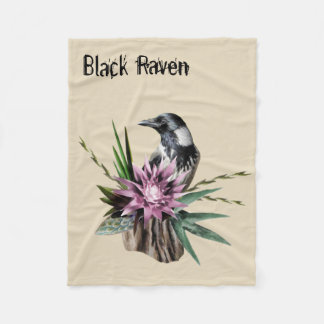 Black Raven Fleece Blanket