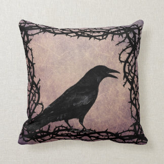 Black Raven Gothic Crow Black Thorn Vine Framed Cushion