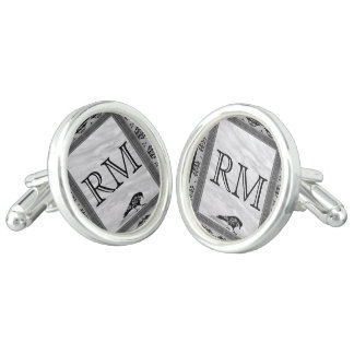 Black Raven Gothic Frame Monogram Wedding Cufflinks