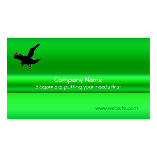 Black Raven on green metallic-effect Pack Of Standard Business Cards