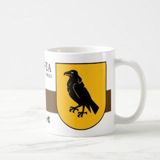 Black Raven on Yellow Shield from Preiļi Latvia Coffee Mug