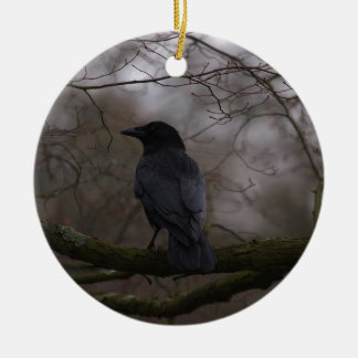 Black Raven Round Ceramic Decoration