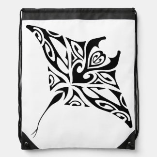Black ray manta 3 drawstring bag