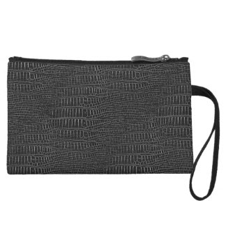 Black Realistic Alligator Skin Look Wristlet Clutches