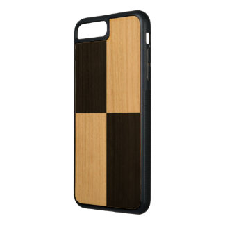 Black Rectangles on Natural Wood Inlay Carved iPhone 8 Plus/7 Plus Case