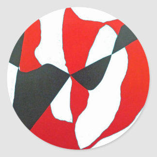 Black Red Abstract Heart Round Stickers