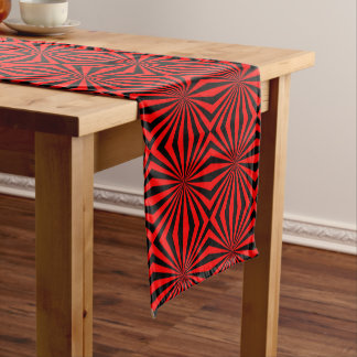 Black Red Abstract Kaleidoscope Geometric Pattern Medium Table Runner