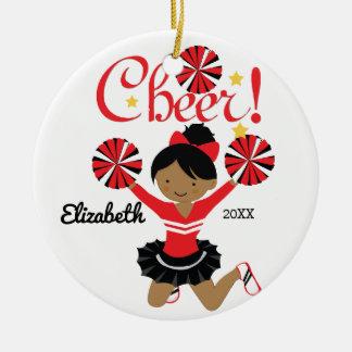 Black & Red African American Cheerleader Ornament