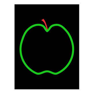 Black, Red and Green Apple Design. Postcard