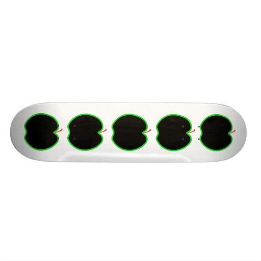 Black, Red and Green Apple Design. Custom Skateboard