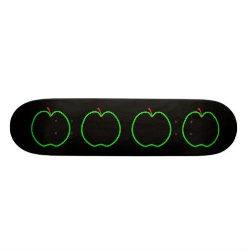 Black, Red and Green Apple Design. Skateboard