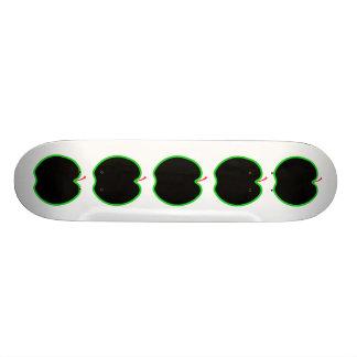 Black, Red and Green Apple Design. Skate Board Deck