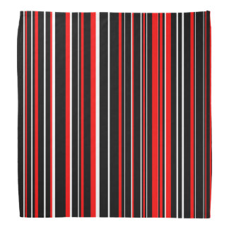 Black, Red, and White Barcode Stripe Bandana