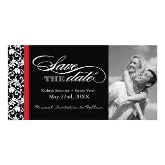 Black, Red and White Damask  Save The Date Photo Greeting Card