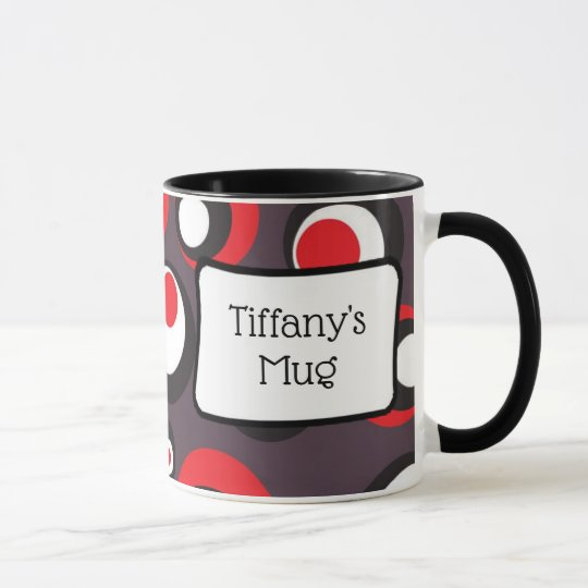 Black Red and White Dots Personalised Coffee Mug
