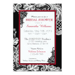 Black Red and White Lace Bridal Shower Custom Invite