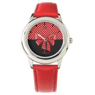 Black, Red and White Polka Dots Ribbon Watch