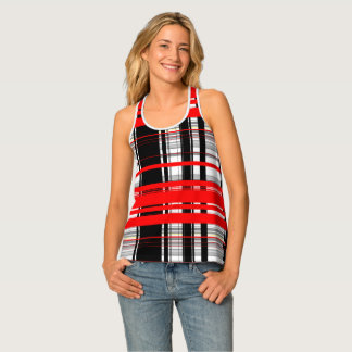 Black red and White stripes abstract Tank Top