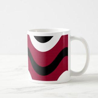 Black, red, and white waves basic white mug