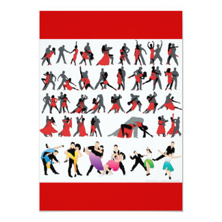 BLACK RED BALLROOM COLORFUL DANCERS DANCE DIGITAL 13 CM X 18 CM INVITATION CARD