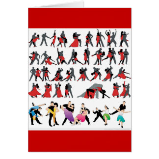 BLACK RED BALLROOM COLORFUL DANCERS DANCE DIGITAL GREETING CARDS