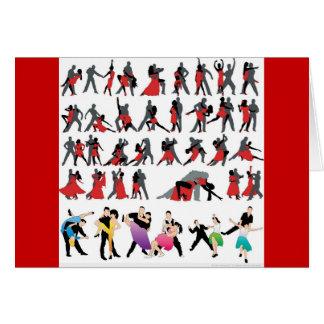 BLACK RED BALLROOM COLORFUL DANCERS DANCE DIGITAL GREETING CARD