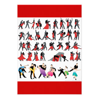 BLACK RED BALLROOM COLORFUL DANCERS DANCE DIGITAL PERSONALIZED ANNOUNCEMENT