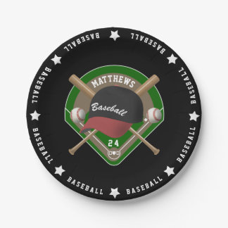 Black | Red Baseball Diamond Bats Balls Cap Name Paper Plate