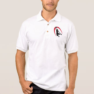Black Red Basketball Logo Polo Shirt