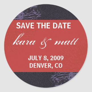 Black & Red Blossom Save the Date Classic Round Sticker