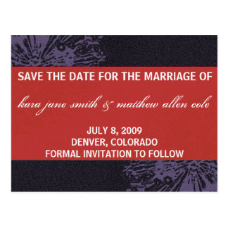 Black & Red Blossom Save the Date Postcard