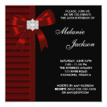 Black Red Bow Womans 30th Birthday Party Personalized Invitation