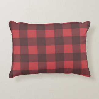 Black & Red Buffalo Check Pattern Decorative Cushion
