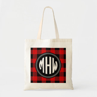 Black Red Buffalo Check Plaid 3I Circle Monogram