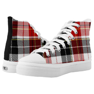 Black+Red checked High Top Shoes Printed Shoes