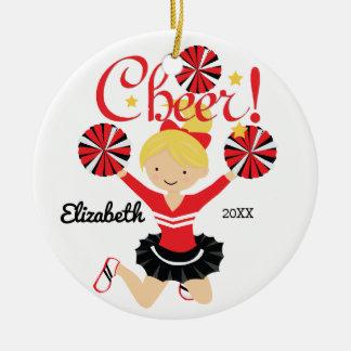 Black & Red Cheer Blonde Cheerleader Ornament