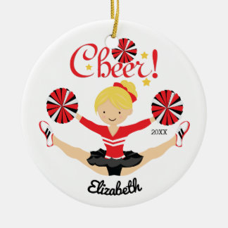 Black & Red Cheer Personalized Blonde Cheerleader Christmas Ornament