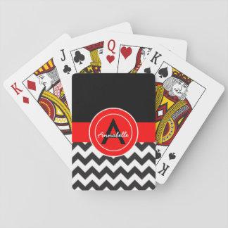 Black Red Chevron Poker Deck