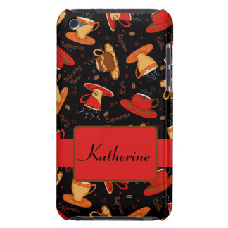 Black & Red Coffee Cup Pattern Personalized iPod Touch Cover